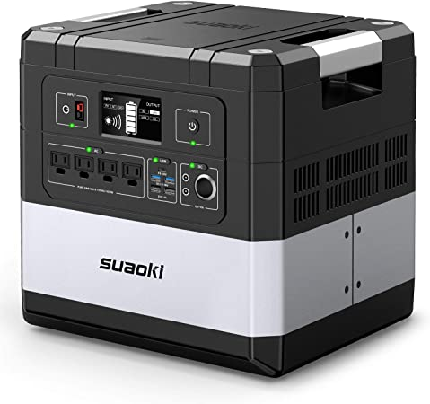 SUAOKI UPS Power Station, G1000 Portable Power Supply 1183Wh Silent Gas Free Generator LiFePO4 Battery Pack with 1000W (2000W Surge) AC Inverter, 60W Power Delivery USB C for Camping CPAP Power Outage: