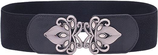 Syuer - Cinturón elástico para mujer, estilo vintage, ancho y elástico