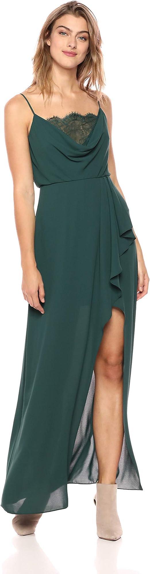BCBG Max Azria Women/'s Ruffled Deep V-Neck Sleeveless Gown