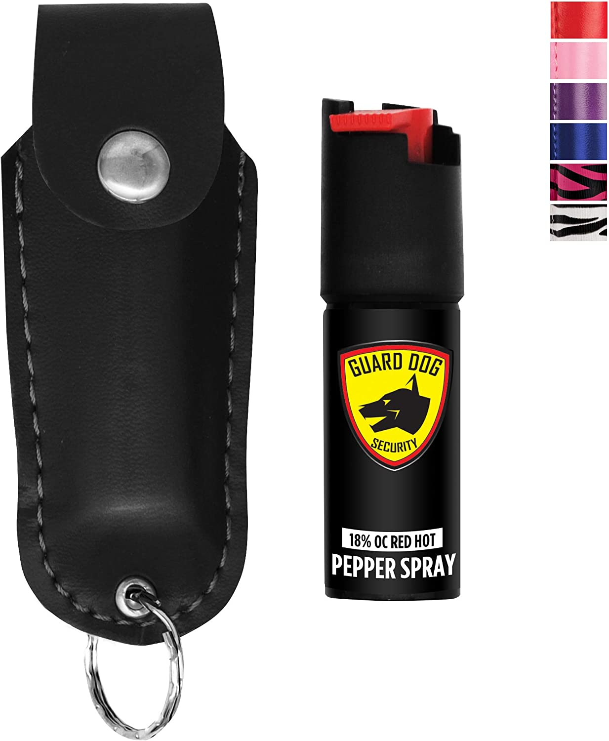 Amazon Com Guard Dog Security Pepper Spray Keychain Red Hot Self Defense Spray With Uv Dye Choose A Leather Holster Color Black Self Defense Pepper Spray Sports Outdoors