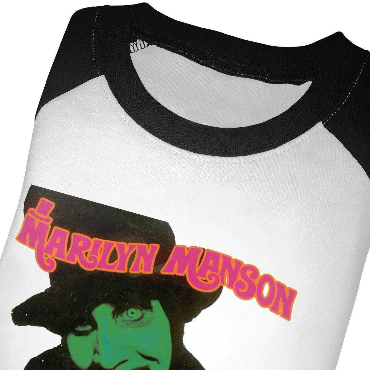 PaulineD Baby Marilyn Manson Smells Like Children 3//4 Sleeve Raglan Baseball T Shirts for Girls /& Boys Black