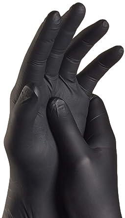 peque/ños TouchGuard caja de 100 unidades Guantes de nitrilo negros desechables sin polvos ni l/átex