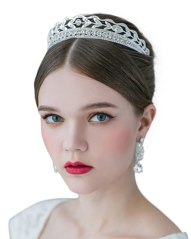 SWEETV エレガント上質な クリスタル 結婚式 ブライダル お姫様 ティアラ ヘアアクセサリー クリア,シルバー