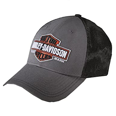 6754cd3702b12 Harley Davidson Mens Trademark B S 39THIRTY by New Era 3930 Trucker Grey  Cotton Stretch Fit Baseball