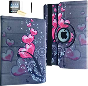 JYtrend Case for iPad Air 2 (2014 Released),Rotating Stand Smart Cover Magnetic Auto Wake Up/Sleep for A1566 A1567 MGKM2LL/A MGTY2LL/A MH182LL/A MH1J2LL/A MH2N2LL/A MNV22LL/A (Pink Heart Flower)