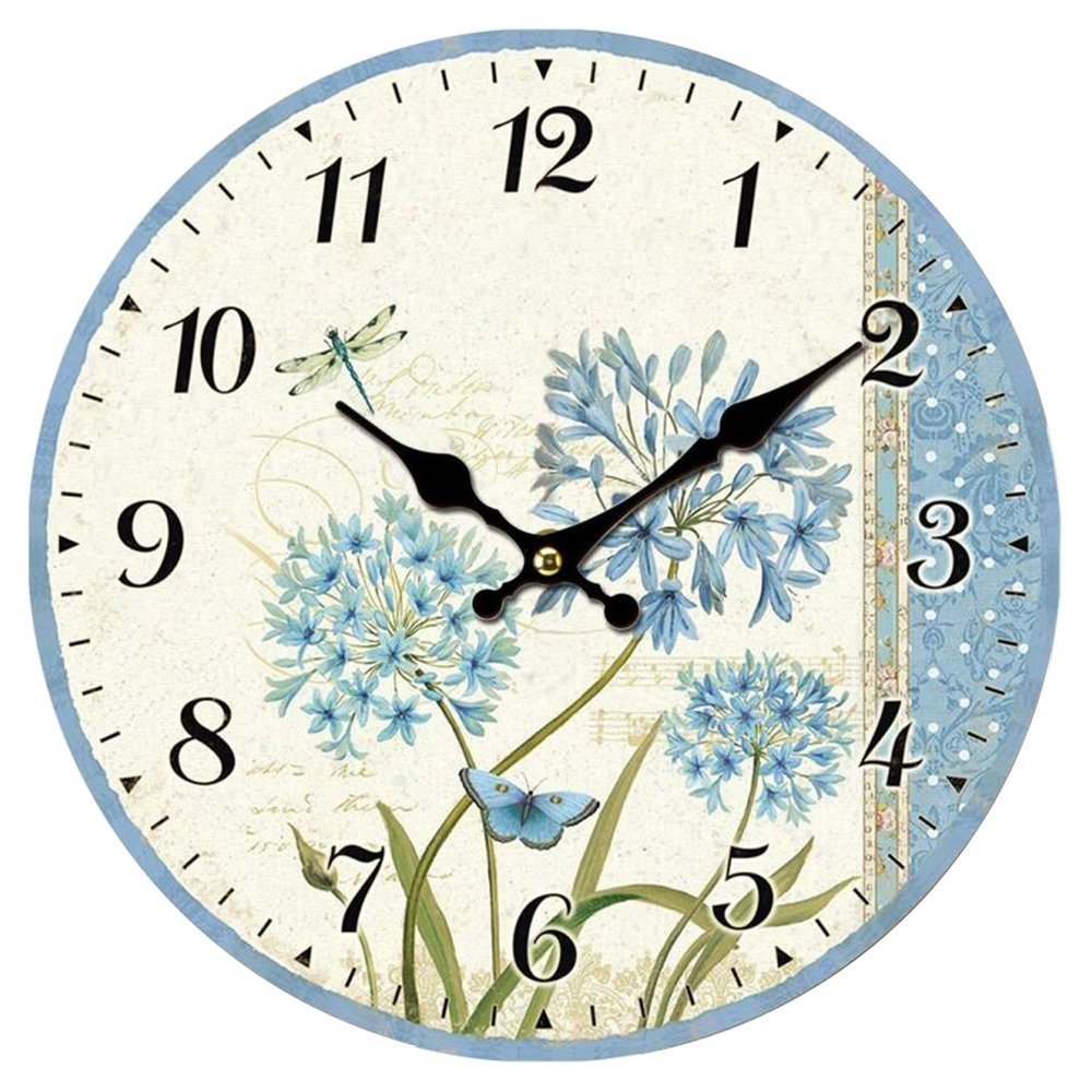 Swonda Decorative Silent Printed Wood Clock for Home Décor (14 inch, Blue Flower)
