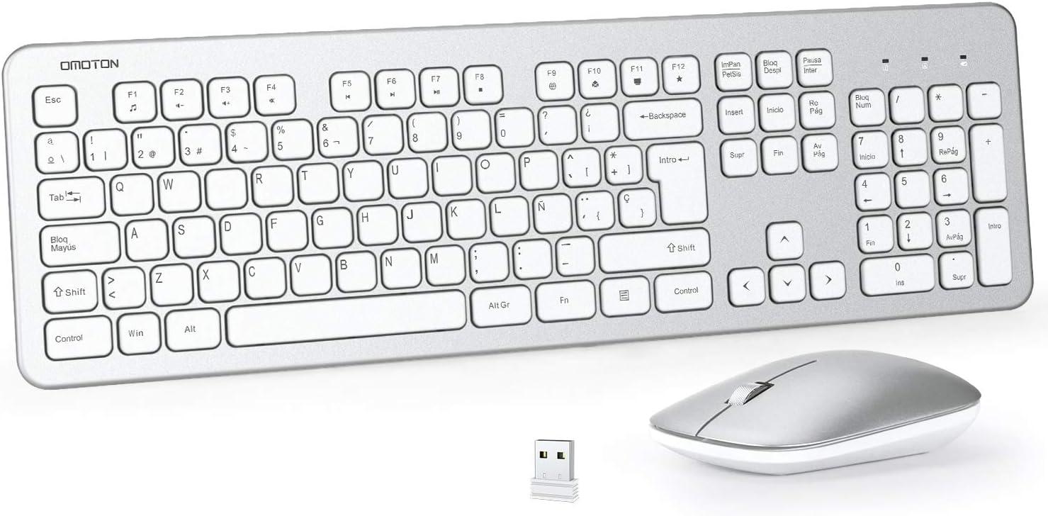 OMOTON Pack Teclado y Ratón Inalámbrico con USB (2.4 GHz, Inalámbrico, Windows) Teclado Inalámbrico Español, Ratón 3 Niveles dpi 800/1200/ 1600, Blanco
