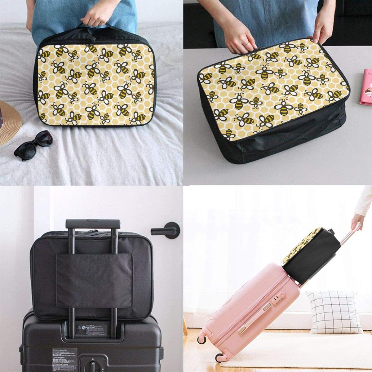 Travel Luggage Duffle Bag Lightweight Portable Handbag Honey Bees Pattern Large Capacity Waterproof Foldable Storage Tote