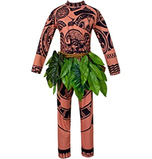 Weeoh Moana Maui Tattoo T Shirt Pants Halloween Cosplay Costume Maui Costume Adult Men Ef Bc