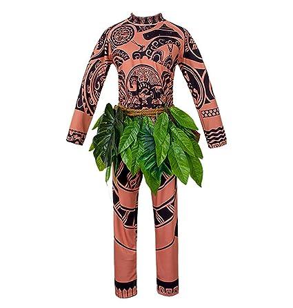 Moana Maui Tattoo T Shirt/Pants Halloween Adult Mens Women Cosplay (Brown, M