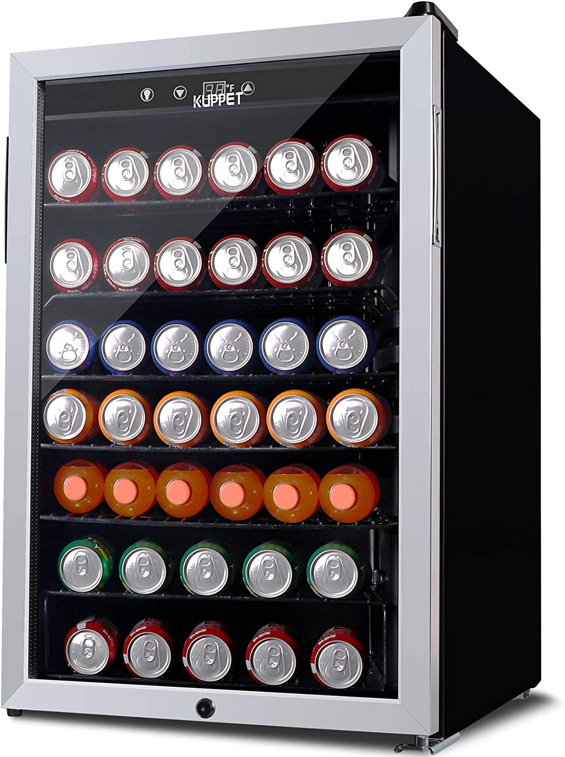 KUPPET 150-Can Beverage Cooler and Refrigerator, Small Mini Fridge for Home, Office or Bar with Glass Door and Adjustable Removable Shelves,Perfect for Soda Beer or Wine, Stainless Steel, 4.5 Cu.Ft.