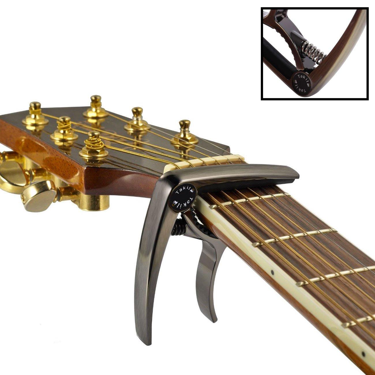 TAKIT Capodastre pour Guitare Acoustique et Electrique - Qualité professionnelle - Bronze GC1