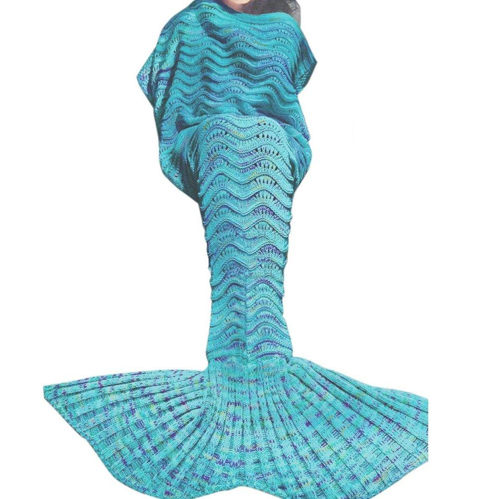 U-miss Mermaid Blanket Crochet and Mermaid Tail Blanket for adult, Super Soft All Seasons Thicken Sleeping Blankets(71''x35.5'', Wave Blue)