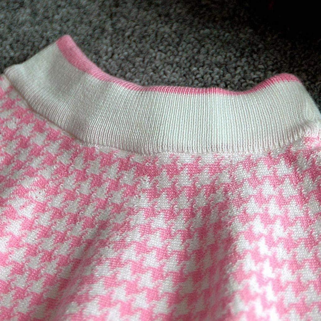 4-5 Years Autumn Winter Toddler Kids Plaid Knitted Sweater Dress Set Baby Girls Coat Tops+Skirt Set Pink, Size 11 C/&M Wodro Girls Dress