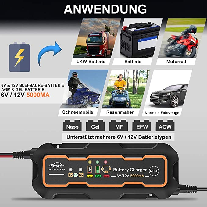 AUTDER Automatic Battery Charger Car Smart Battery Replenisher and Maintainer 5A 6V//12V, UK Plug