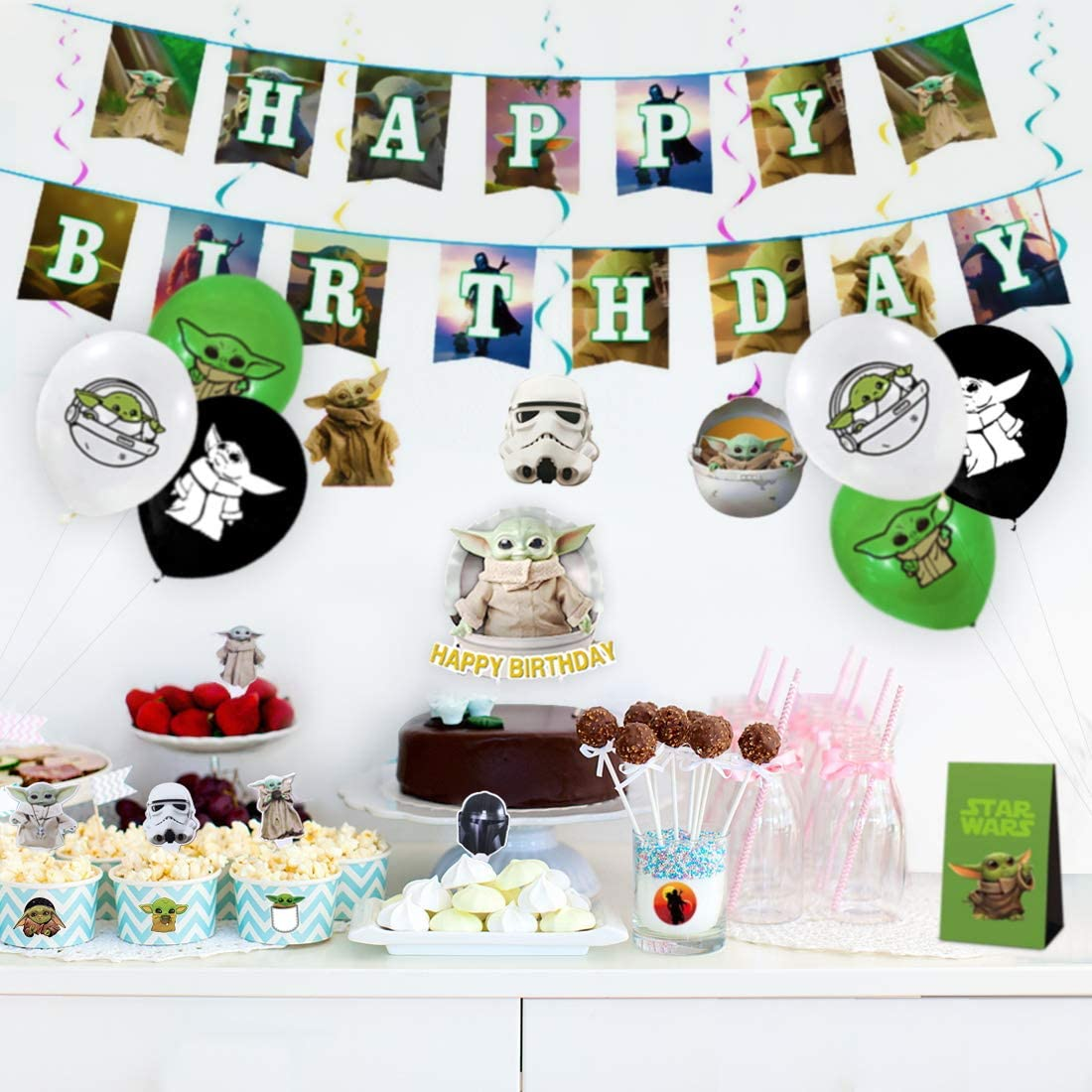 lanyard,candy bag,Hanging Swirls Balloons for Party Decorations Cake/Topper Baby Yoda Party supplies Set The Mandalorian/birthday decorations for Star War Fans with Happy Birthday Banner stickers,Cupcake/Toppers