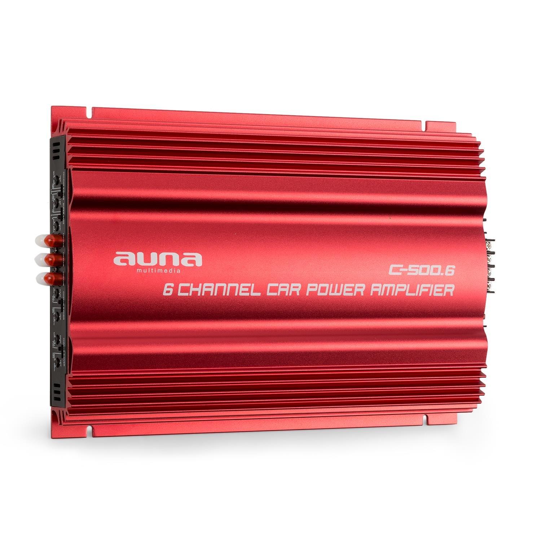 und Tiefpass-Filter /• Frequenzbereich 30 kHz /• br/ückbar /• rot auna C500.4 /• Car HiFi Verst/ärker /• 4-Kanal Auto-Endstufe /• Car Amplifier /• Leistung 10 Hz 4 x 65 Watt RMS /• regelbarer Hoch