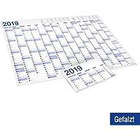XXL Jahresplaner, Wandkalender 2019 im Poster Format gefaltet (70x 100 cm), 15 Monate, gefalzt geliefert. Jahreskalender Wandplaner Wandkalender Kalender.