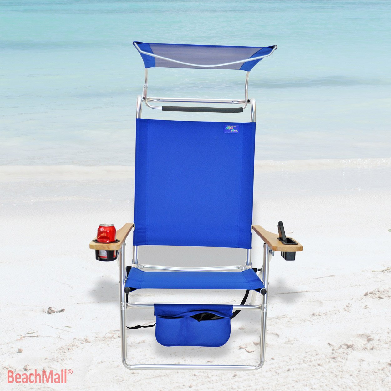 Beach chair with canopy - Amazon Com Beachmall Deluxe 4 Position Aluminum Beach Chair With Canopy And Storage Pouch Camping Chairs Sports Outdoors