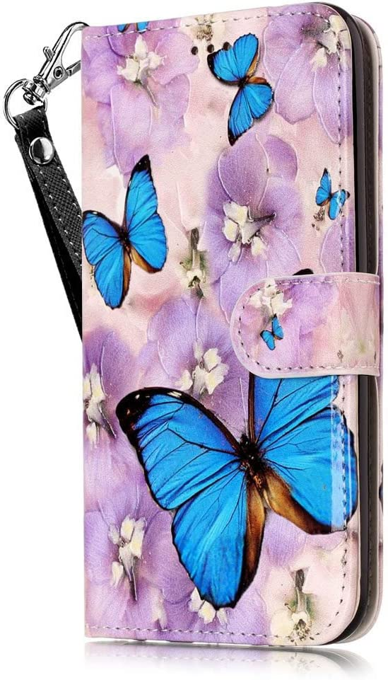 iPhone 6S Wallet Case,iPhone 6 Wallet Case,JanCalm PU Leather Wallet Cell Phone Cases with [Detachable Wrist Strap][Multi Card/Cash Slots] Stand Flip Magnetic Cover + Crystal Pen (Butterfly/Purple)