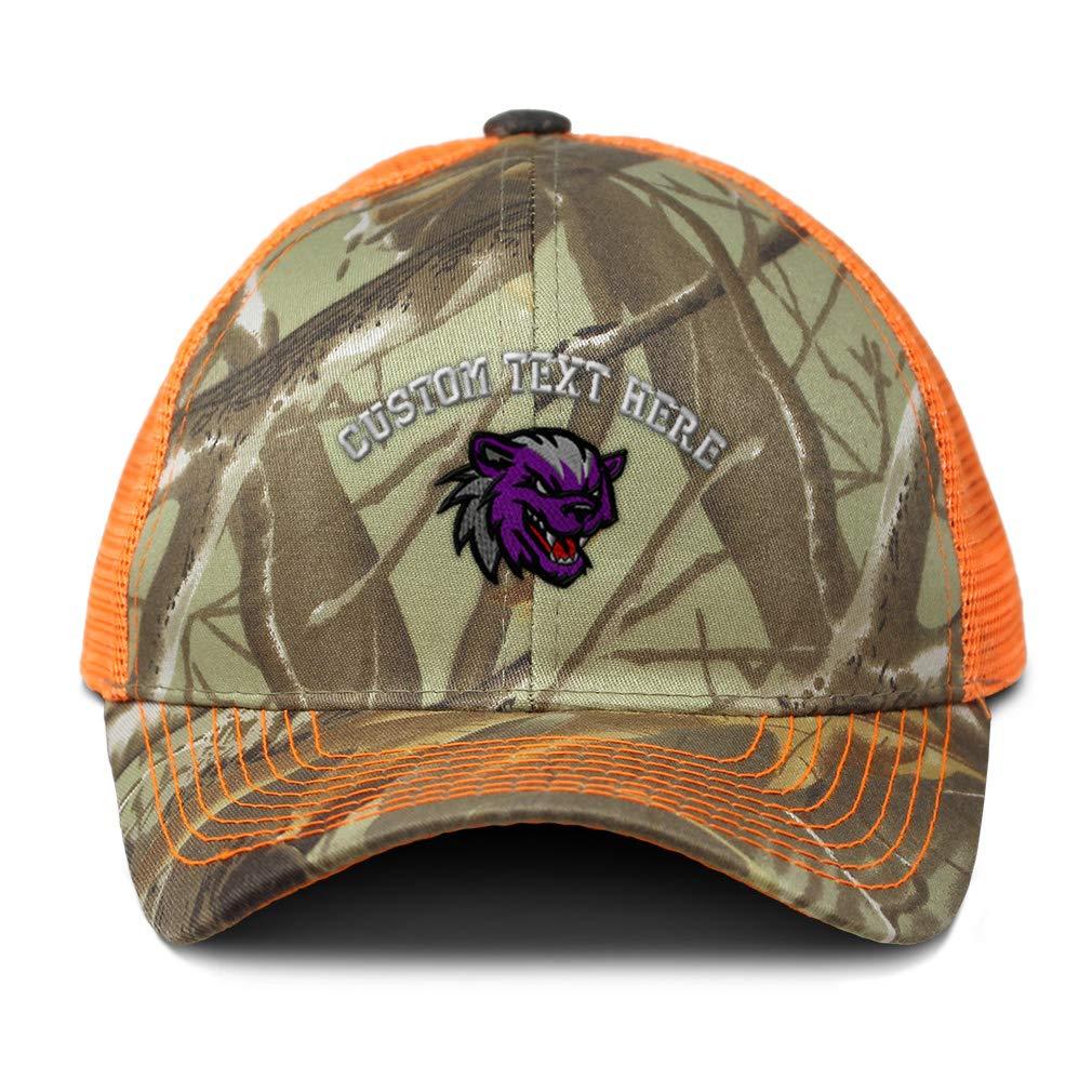 Custom Camo Mesh Trucker Hat Animal Bird Eagle Mascot C Cotton One Size