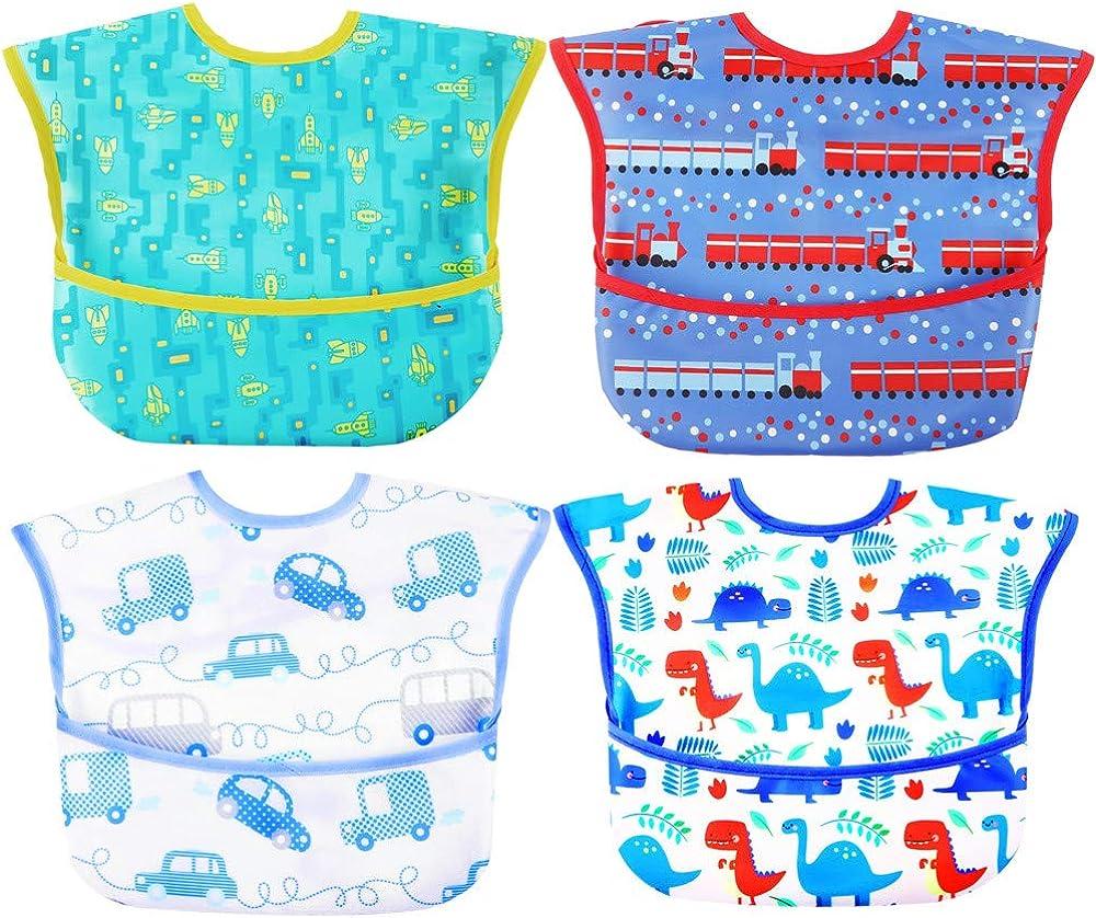 Baby bibs Waterproof Feeding bib - Starter Bib with Catcher Pocket For Todder Infants Washable Soft 4Pac 6-24M