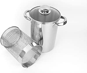 Asparagus Pot Stainless Steel Steamer Cooker with Basket and Lid Pasta 16cm 4L