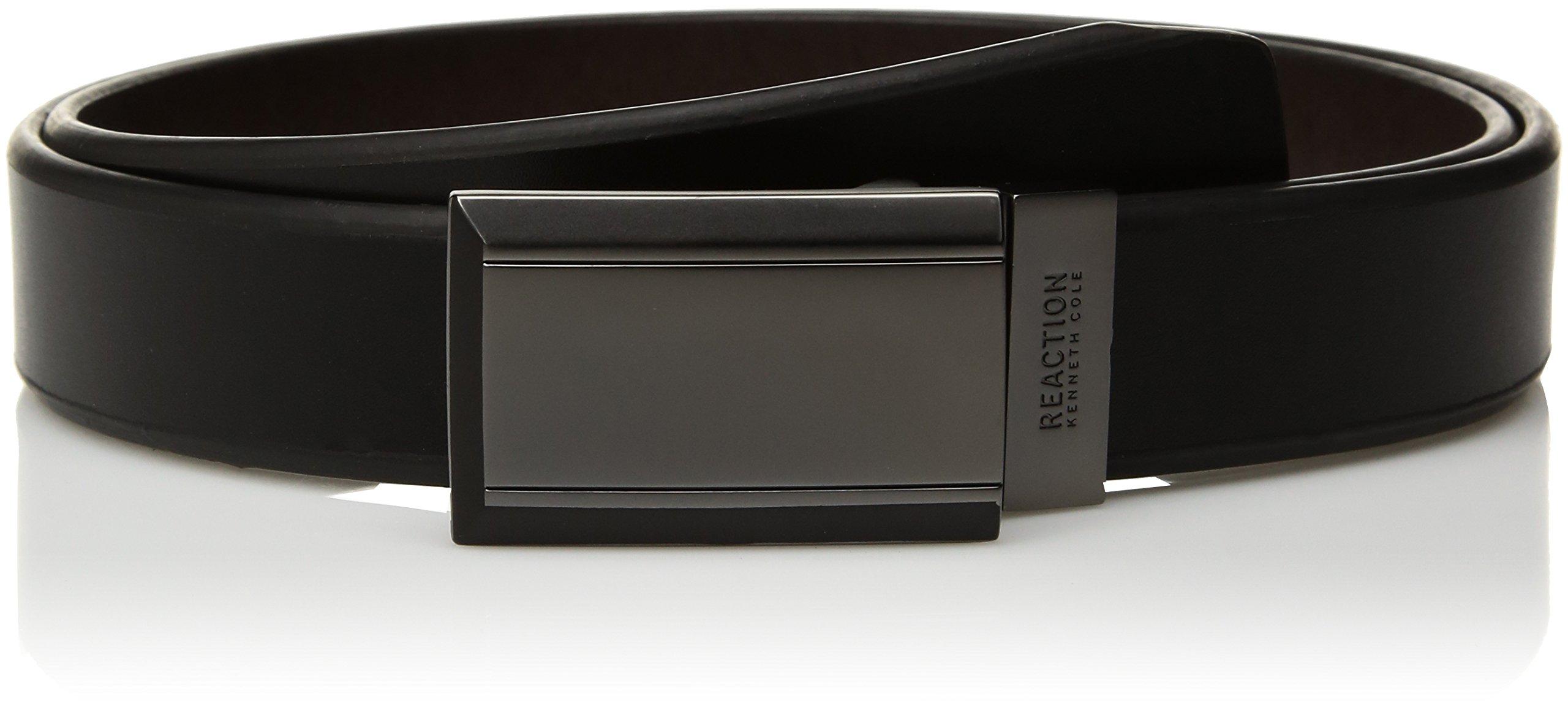 Kenneth Cole REACTION Men's Reversible Plaque Buckle Belt, Black/Brown Plaque, 40