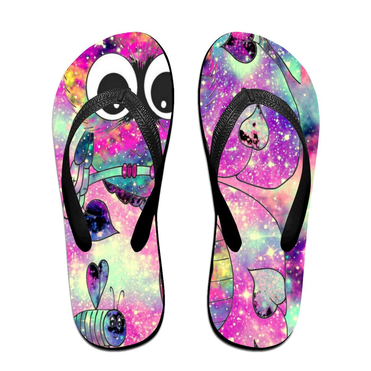 Unisex Summer Beach Slippers Owl Flip-Flop Flat Home Thong Sandal Shoes