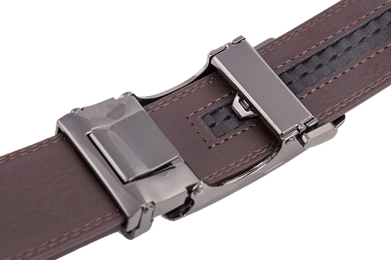 Cuero aut/éntico 4/cm de ancho Cintur/ón con hebilla autom/ática shenky