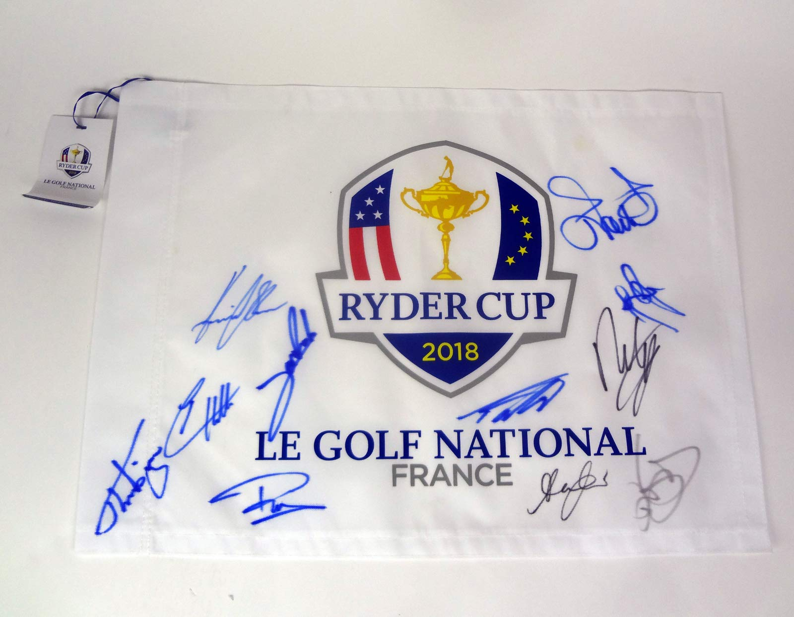 Team Europe Ryder Cup 2018 Signed Autograph Official Pin Flag Rory McIlroy COA