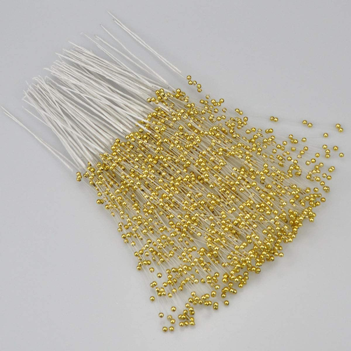 100PCS 4MM Bridal Wedding Pearl Bouquet Party ABS Pearls String Pearls Sticks Decor Christmas Party DIY Home Party Wedding Table Centerpiece (Gold)