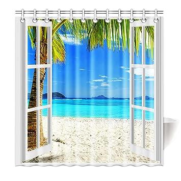 Violetpos Top Qualität Anti Schimmel Duschvorhang Digitaldruck Für  Badezimmer Badvorhänge Die Landschaft Vor Dem Fenster