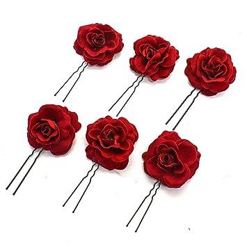 Amazon Com Buorsa 6pack Elegant Red Rose Bridal Hair Clips Wedding