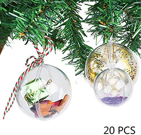 50x Clear Glass Transparent Ball Fillable Baubles Christmas Tree Decor Ornament