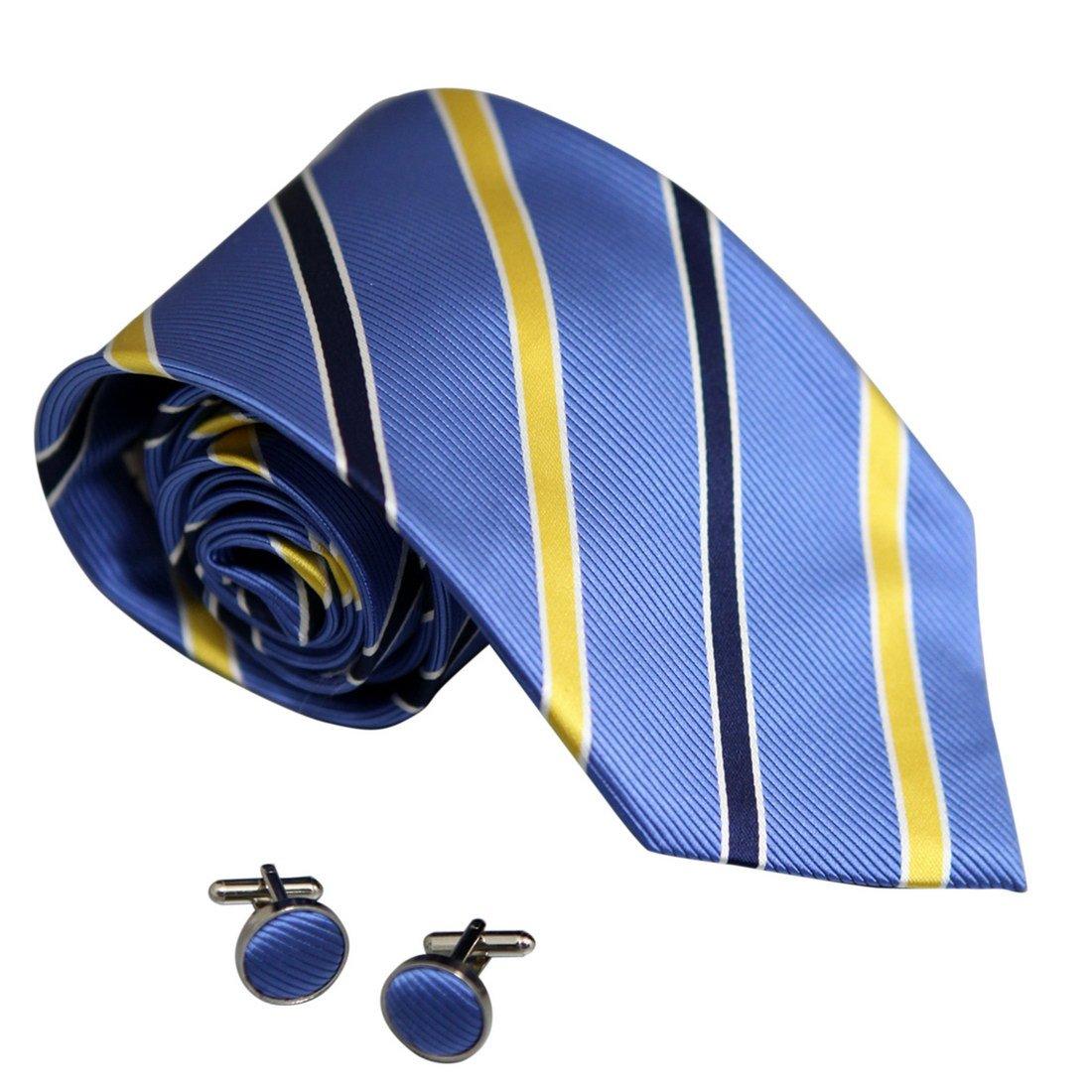 8093 Royal Blue Striped Popular Beautiful Silk Neckties Cufflinks Set By Y&G
