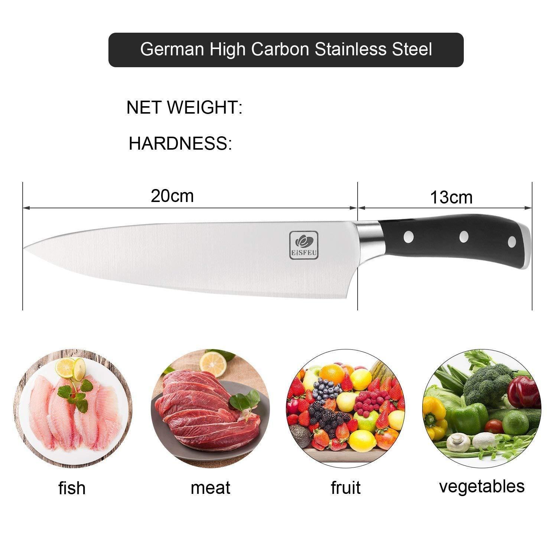 Cuchillo de Chef, Eisfeu Cuchillo cocina de 20cm, Cuchillo cocinero, Hoja afilada, Cuchillo para pelar, Cuchillo cocinero, Mango de G10 ergonómico ...