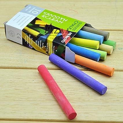 Pack de 10 tizas de color blanco para pizarra, escuela, oficina, manualidades, papelería 19E1: Amazon.es: Oficina y papelería
