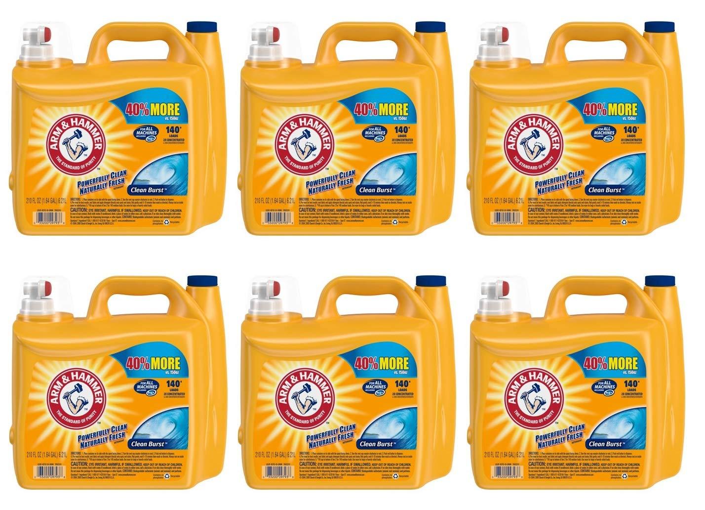 Arm & Hammer 2X Ultra Clean Burst Liquid Laundry Detergent 210 oz WLM (Pack of 6)