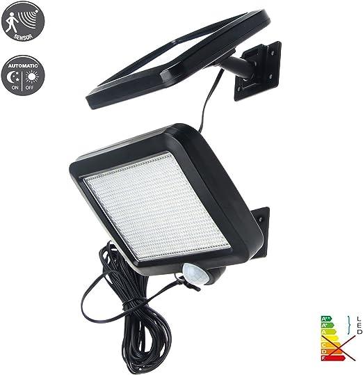 LEDs Lámparas Solares,Impermeable Energía con Sensor de Movimiento 3-8m,Luz Solares de Seguridad,Focos Luz Paredes,Luz Solar Exterior para Jardín,Terraza, Garaje,Iluminacion Exteriores (cable 16 pies): Amazon.es: Iluminación