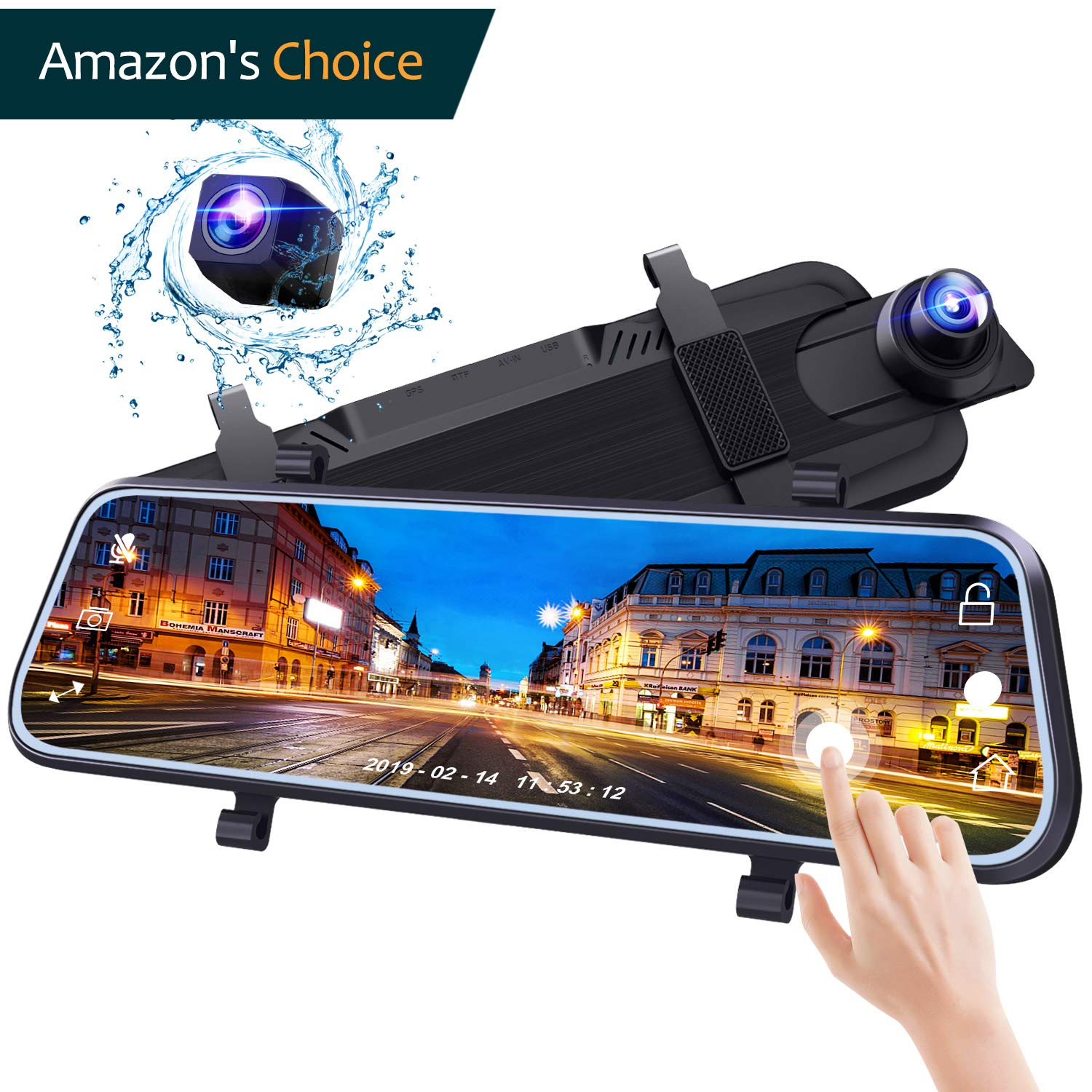 Bir Mirror Dash Cam 10 Inches Touch Screen Sony Front&Rear Dual Lens for Car Backup with Guideline 1080P HD Waterproof Reverse Camerea Enhanced Night Vision