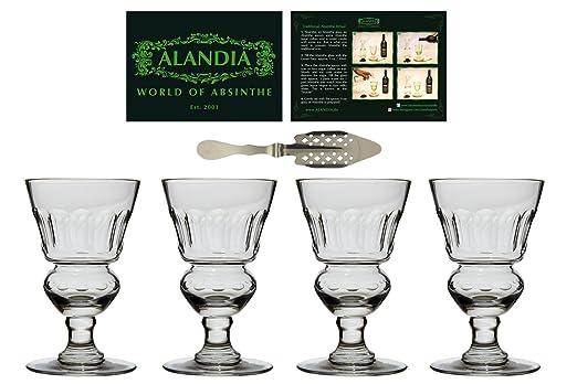 4x Copas / Vasos Absenta | Auténtica reproducción del original | Hecho a mano | Una cuchara de Absenta incluida: Amazon.es: Hogar