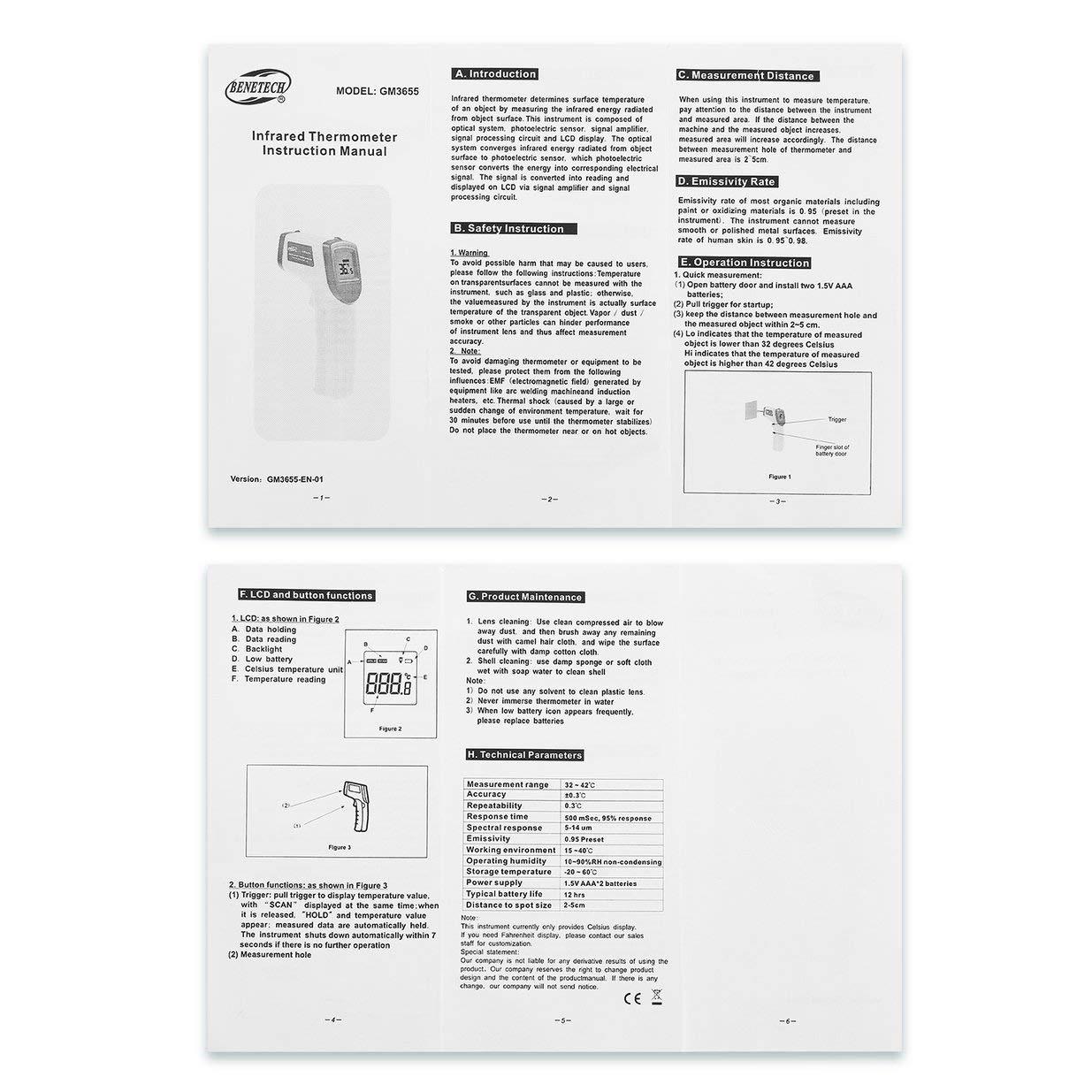 GM3655 Hand-Infrarot-Thermometer Hochpr/äzises tragbares Haushaltsb/üro Ber/ührungsloses Infrarot-Thermometer