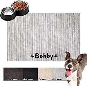 Forestpaw Customized Cat & Dog Bowl Mats for Food and Water,Personalized Pet Mats with Waterproof and Easy to Clean,Floor mat for Dog Bowls