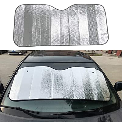 "WANCAR Car Front Windshield Sunshade Foldable Reflective Sun Visor UV Ray Reflector Keeps Vehicle Cool(23.6""x55""): Automotive"