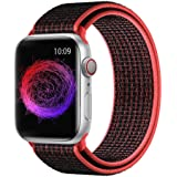 Prime Retail Nylon Sport Loop Band Strap for iWatch Compatible with Apple Watch Series 5 4 3 2 1 (38mm/40mm)-Electric Pink