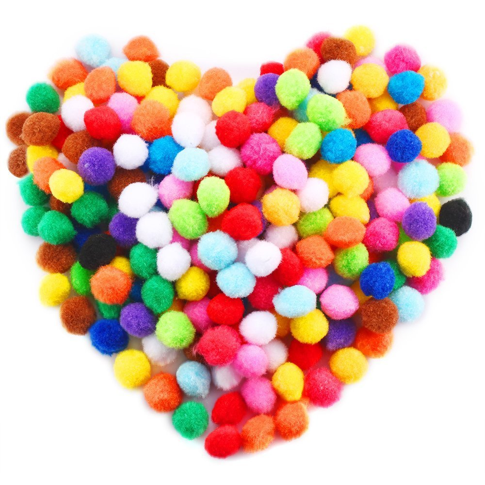 Psunrise Decoración Caydo 250 Pieces 1 Inch Pom Poms for Hobby Supplies and DIY Creative Crafts