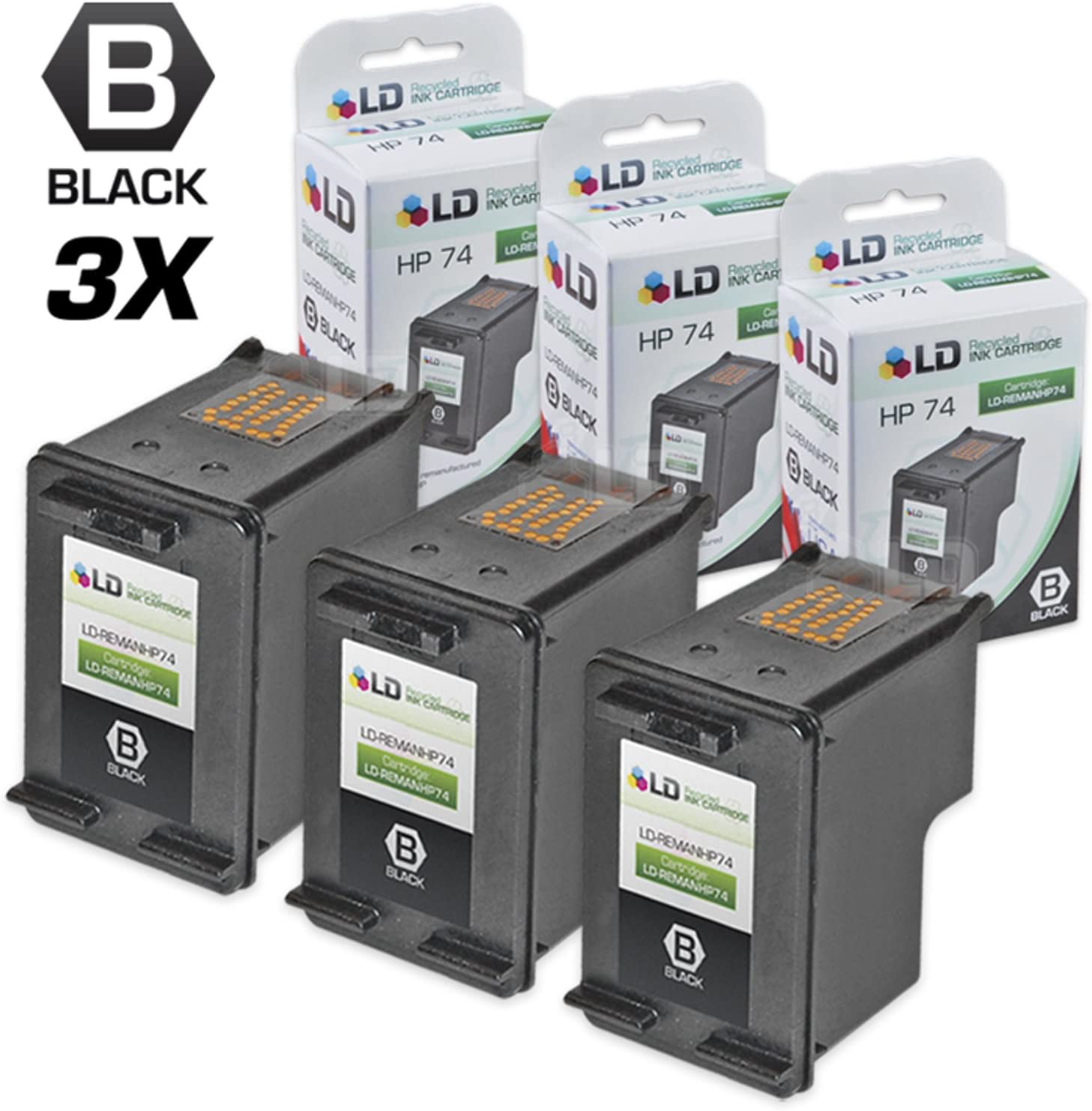 LD Remanufactured Ink Cartridge Replacement for HP 74 CB335WN (Black, 3-Pack)
