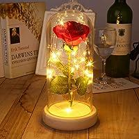 Tauser Rosa rosa incantata rosa rossa di seta e luce a LED in cupola di vetro su una base di legno Piante artificiali