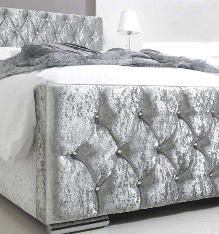 Luxus gecrushter Samt Doppelbett Chesterfield – Silber – (Made in UK ...